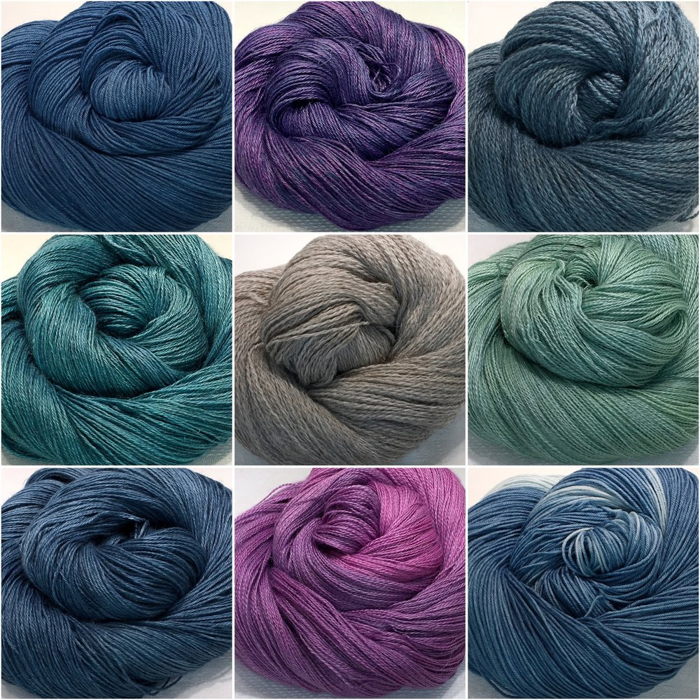 The Border Tart: For the Border Tart it's all about indigo. Yarns fromsturdy sock to lush laceweight are dyed with natural indigo in every tone . And there are glorious new overdyed colours to add to the fun!