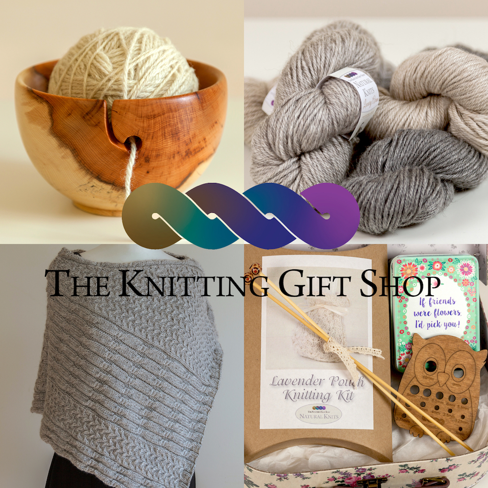 The Knitting Gift Shop: Original design knitting patterns and kits using their own range of natural wool from fleece sourced and spun in the UK. Wooden and ceramic yarn bowls, yarn servers, swifts and accessories. Unique knitting themed gifts