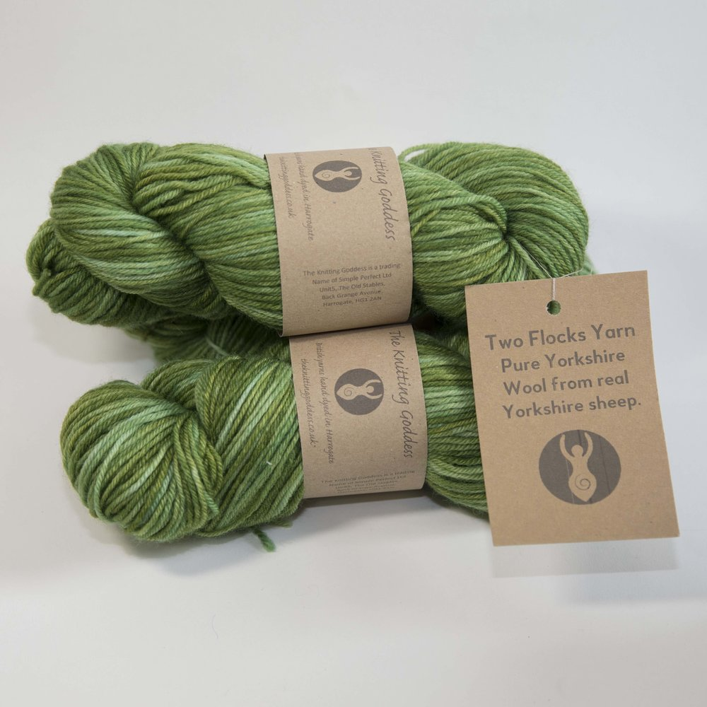The Knitting Goddess: Two Flocks yarn is a glorious blend of Poll Dorset and BFL. Sourced from two Yorkshire Flocks this stunning DK weight yarn showcases the best of British wool.