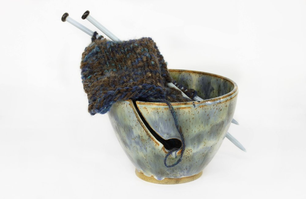 Wendy's Yarn Bowls: Pottery yarn bowls in several designs, sizes and glaze colours. I also make double, triple and lidded yarn bowls. I have a range of shawl pins and buttons. All my pieces are made by myself in my studio in High Wycombe.