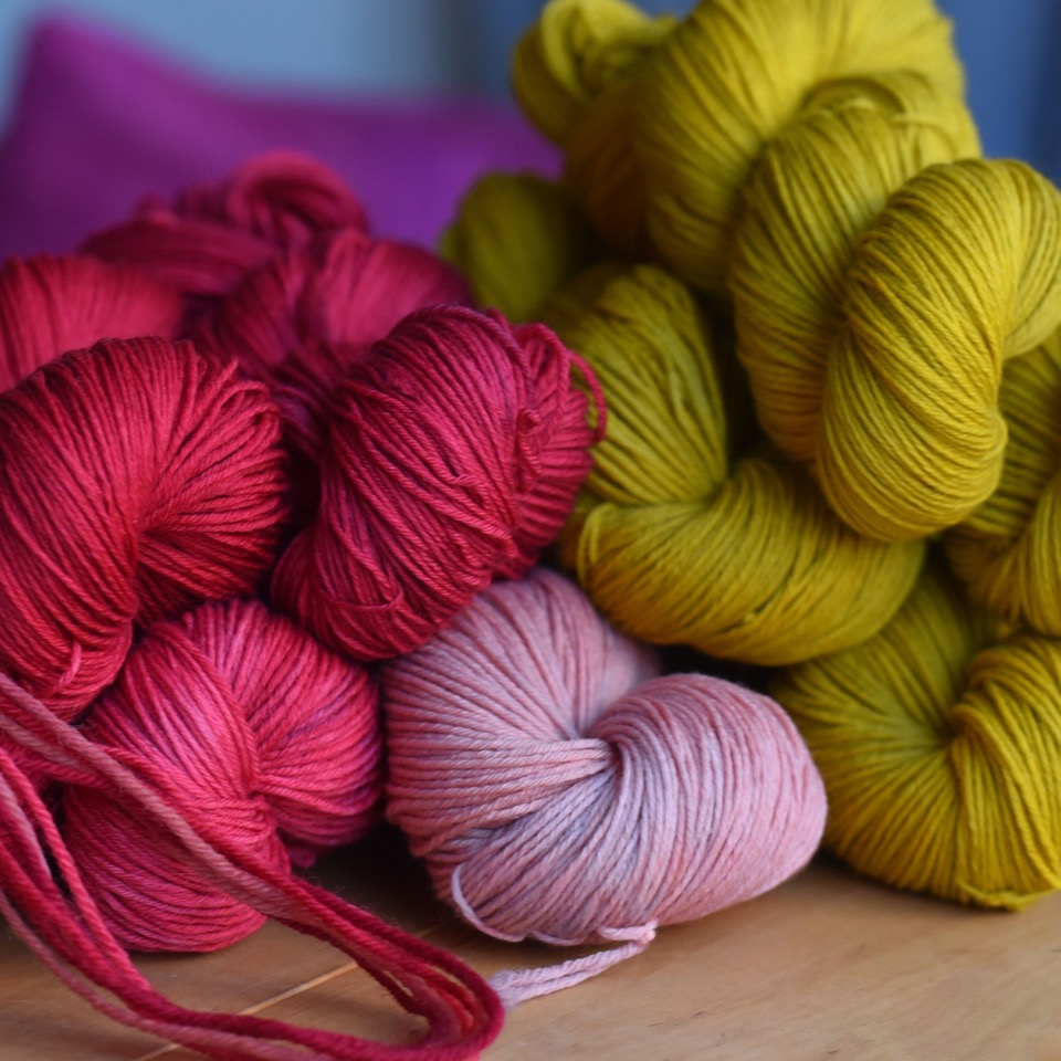 Dandelion Yarns: Hand dyed in Stockholm, Sweden, with a focus on sustainable and organic yarns and environmental friendly colouring substances.