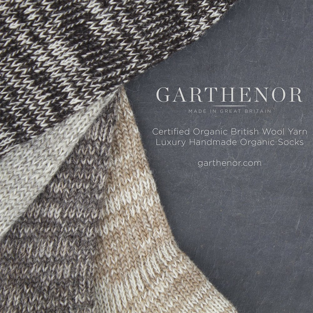 Garthenor: Certified Organic British knitting yarns from Garthenor, all in natural undyed shades and breed sorted.
