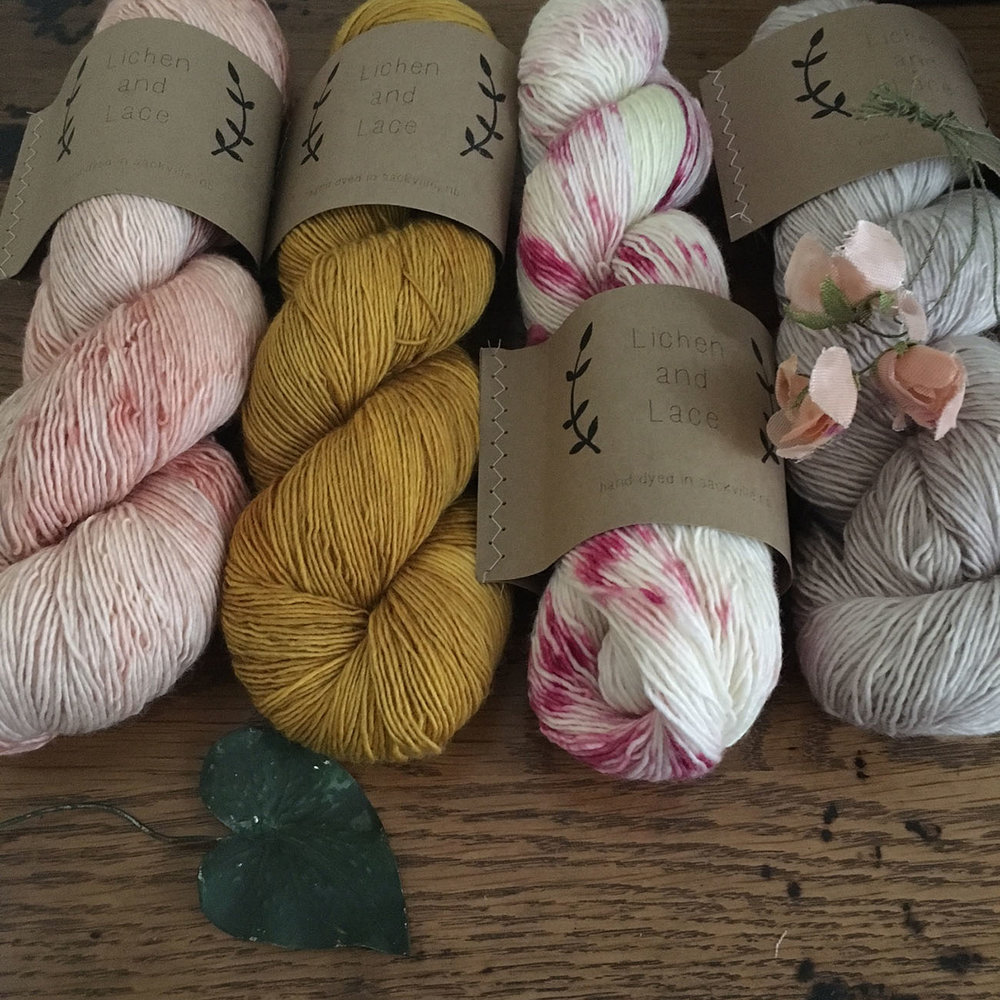 Loop: Hand-dyed magic. Lichen + Lace Merino Singles are one of the many gorgeous hand-dyed yarns at Loop. Shown here in Orchid and Clover they're beautiful for shawls or any other accessories.