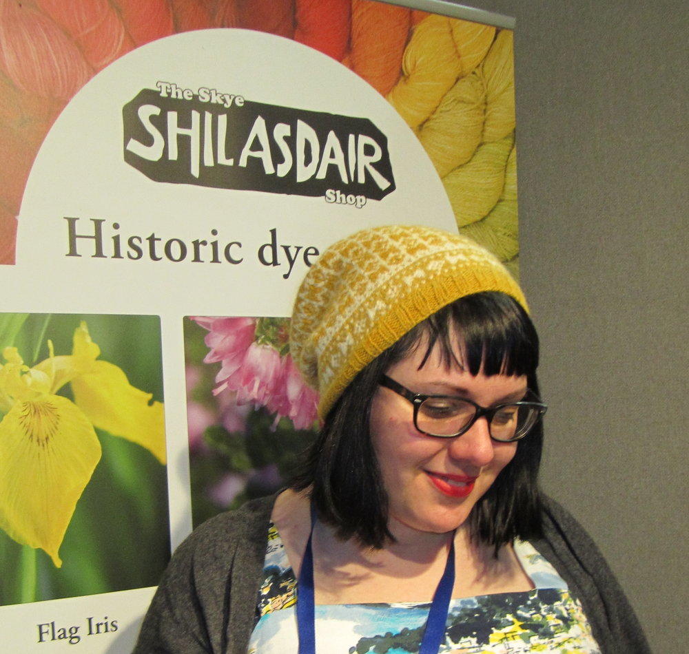 The Skye Shilasdair Shop: Karina Westermann wearing her Burnet hat from last year's Wool Tribe magazine. Luxurious plant-dyed yarn.