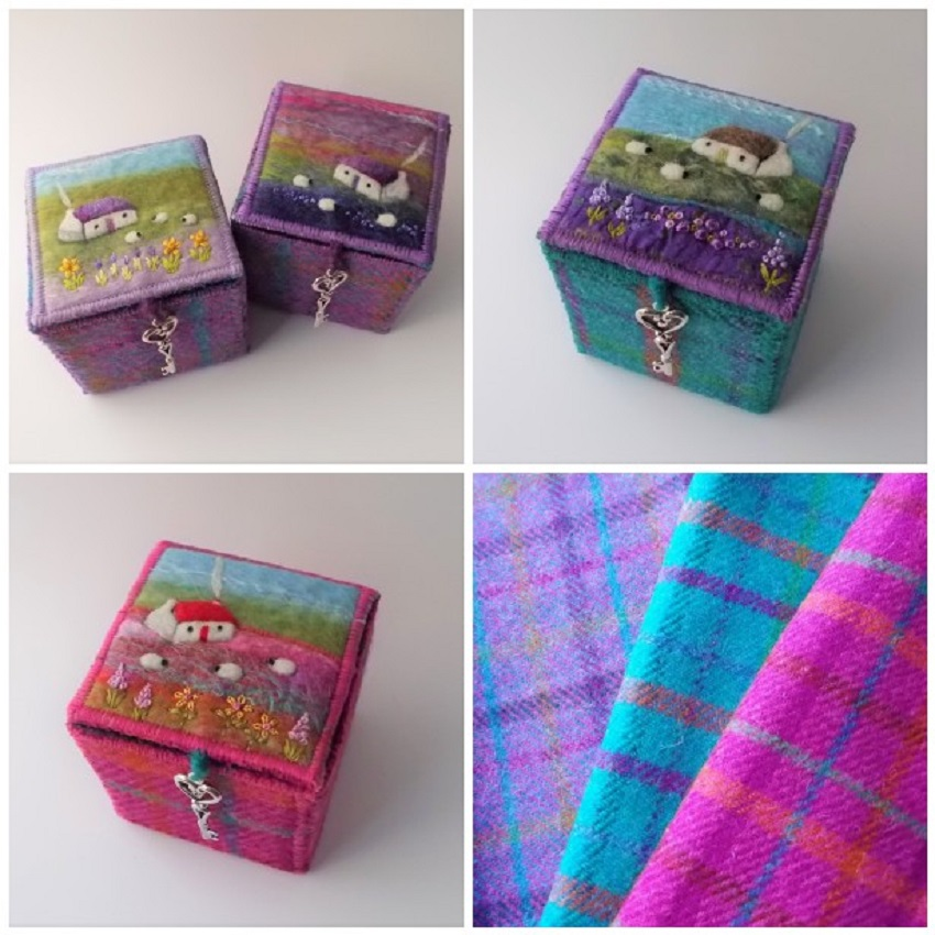 Aileen Clarke Crafts: Harris Tweed and Felt Trinket Boxes by Aileen Clarke Crafts. These boxes measure 7 x 7 x 7 cm. Other sizes available.