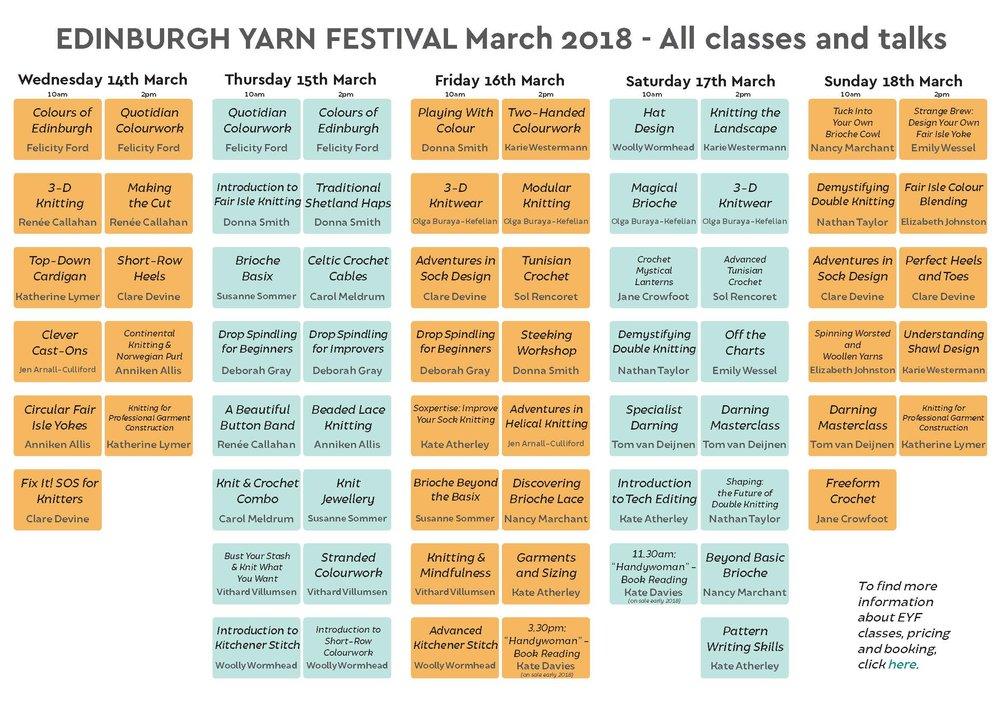 Class Timetable   Edinburgh Yarn Festival