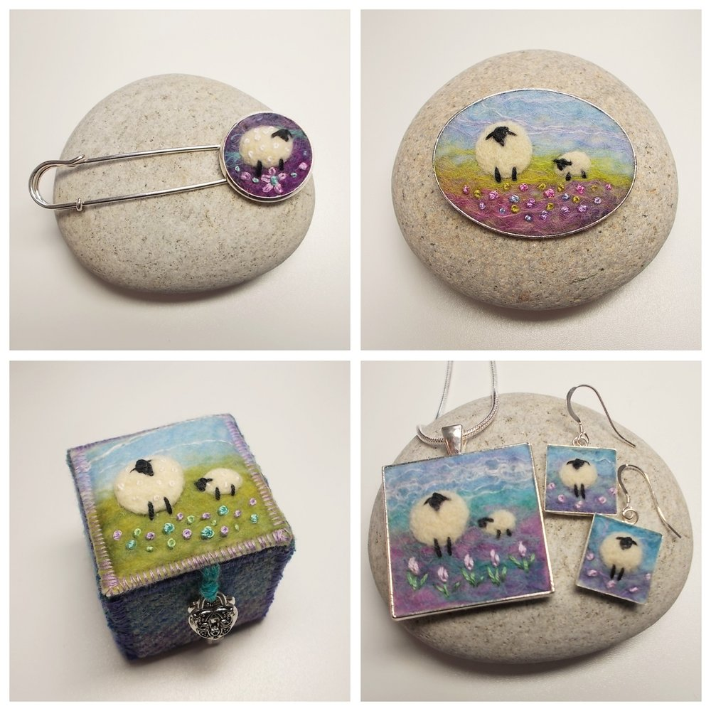 Aileen Clarke Crafts   Needle felted Sheep Pendants, Earrings, Brooches, Shawl Pins and Harris Tweed and Felt Keepsake Boxes. Handmade in Scotland by Aileen Clarke using traditional felt making techniques incorporating hand dyed fibres from around the UK.
