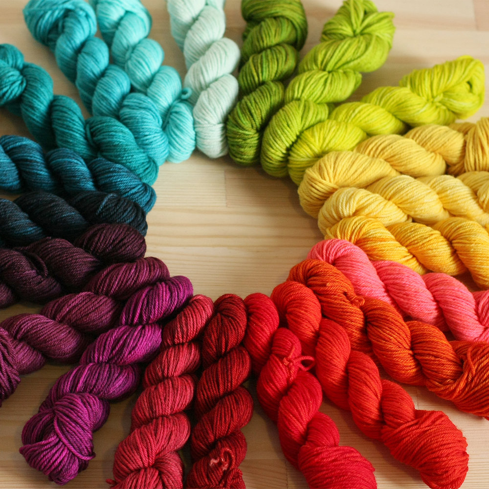 Rainbow Heirloom   Rainbow Heirloom creates blistering brights, deep jewel tones, and delicately soft shades. Hand dyed yarns, blanket kits, and bundles of mini skeins in a rainbow of brilliantly vivid colours will be coming to EYF.