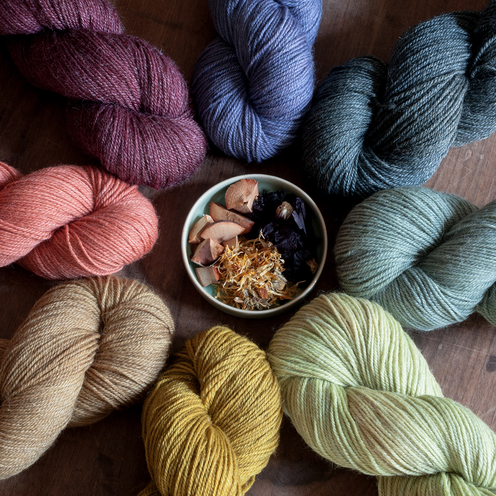 Hey Mama Wolf   Hey Mama Wolf makes eco-conscious naturally dyed yarns. The dye material is either organically grown or foraged in the Brandenburg wilderness. Hey Mama Wolf's organic yarn bases support small sheep farmers in Germany.