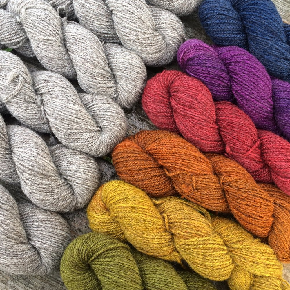 Midwinter Yarns   Along with our usual selection of natural Scandinavian yarns, we are thrilled to bring our very own Welsh Wool to EYF! This single flock BFL wool is hand-dyed by us and we are terribly proud of it.