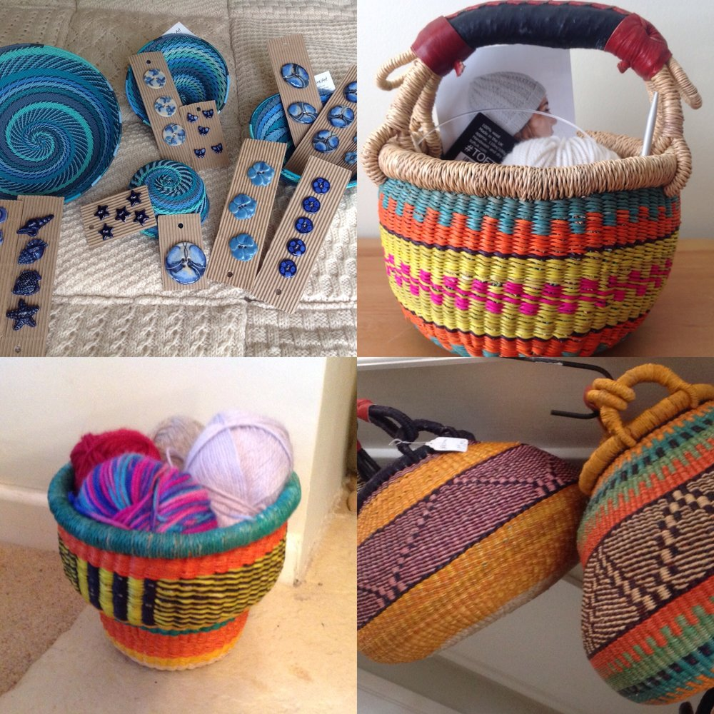 Injabulo   Beautiful handmade Fair Trade Baskets in a wide variety of shapes and sizes for storage of every project and your stash! Stunning handmade and handpainted ceramic buttons to give all those handknits the perfect finish.