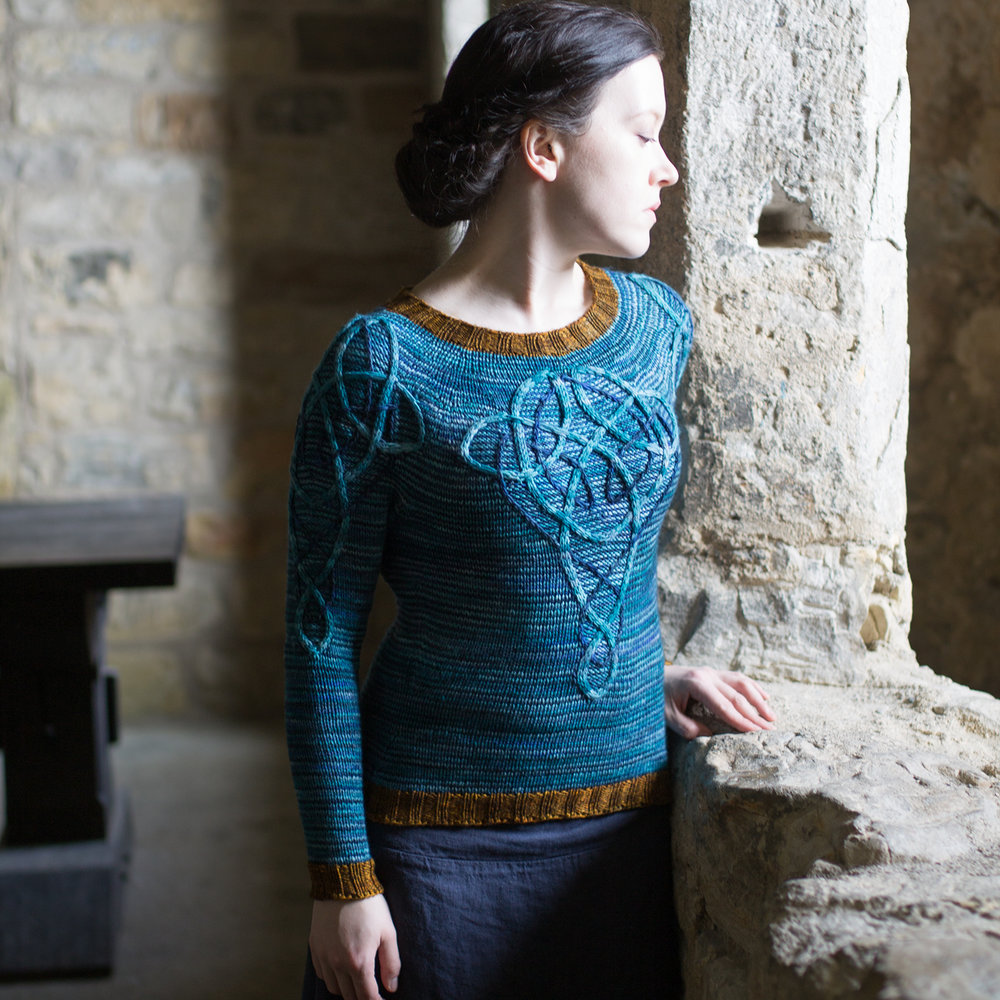 Lucy Hague Designs   Scottish designer Lucy Hague, author of 'Celtic Cable Shawls' and 'Illuminated Knits', will be returning to Edinbugh Yarn Festival to showcase her unique knitting patterns inspired by Celtic and Pictish art.