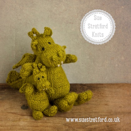 Sue Stratford Designs   Sue will be showcasing new patterns and kits including Dennis the Dragon (not forgetting mini Dennis) and his knitted pals at EYF, together with a special surprise guest!