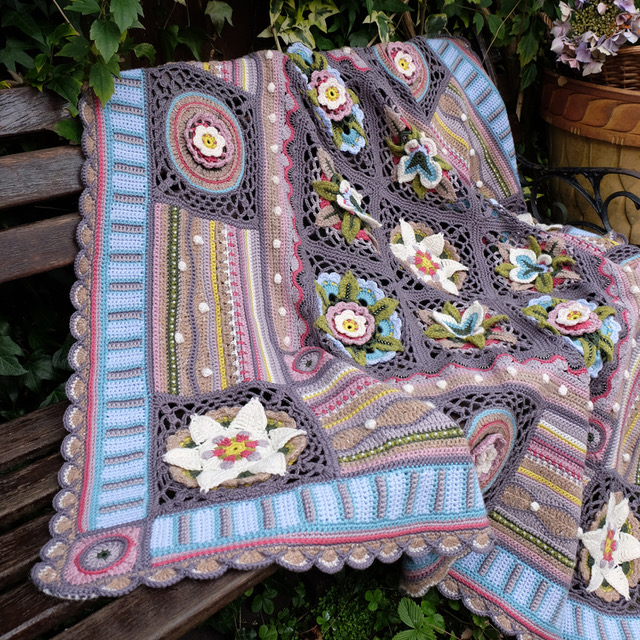 Janie Crow   Bohemian Blooms - A new take on the traditional CAL style project. Work through at your own speed and in your chosen order using our beautiful colour pattern brochure to guide you every step of the way!