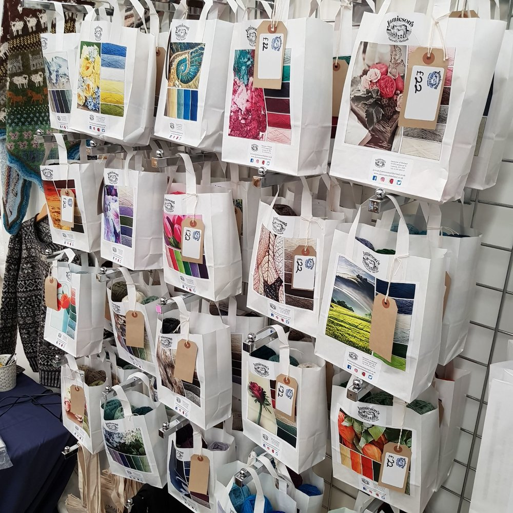 JAMIESON'S OF SHETLAND  Have you tried @jamiesonsofshetland knitting version of pick 'n' mix? Lots of new colourways for this years #EYF, along with our full Spindrift range, some new patterns and all our usual goodies!