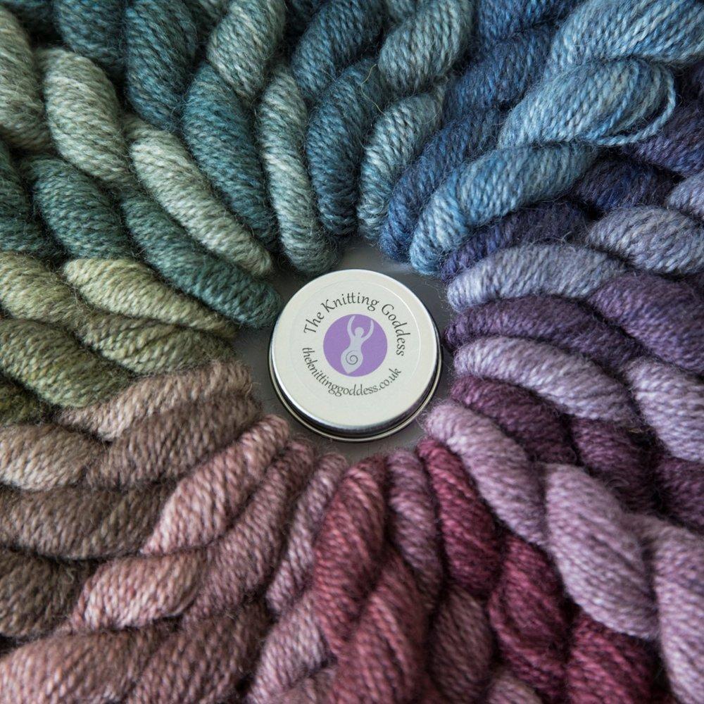 THE KNITTING GODDESS  Glorious rainbows of colour hand dyed onto British BFL & Masham wool
