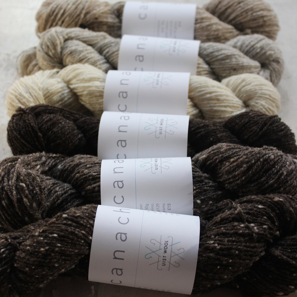 UIST WOOL  Undyed artisanal knitting yarns made in the Outer Hebrides.  We're excited about our brand new batch of lovely Canach 4-ply ready to launch at EYF!