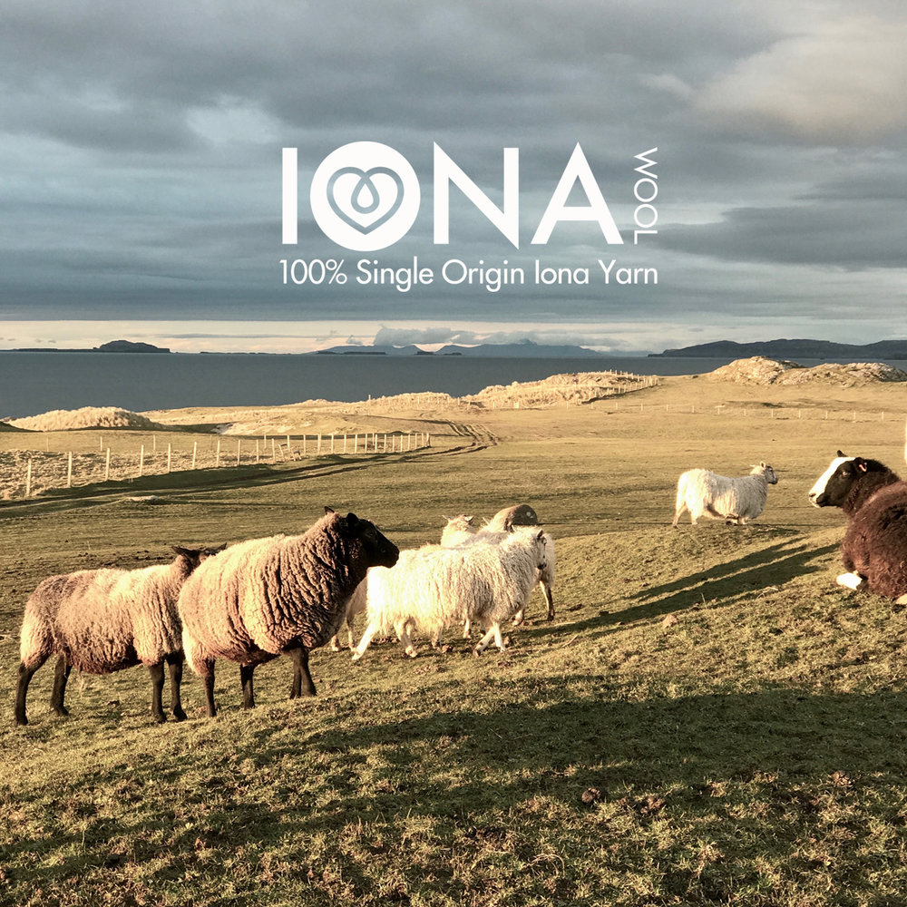 "IONA WOOL "" Warmed by the sun, blown by the wind..."" Iona Wool is a single origin yarn from the tiny Isle of Iona off the West Coast of Scotland. Fleece from different breeds and crofts are carefully graded and combined to produce premium yarns of unique quality and character."