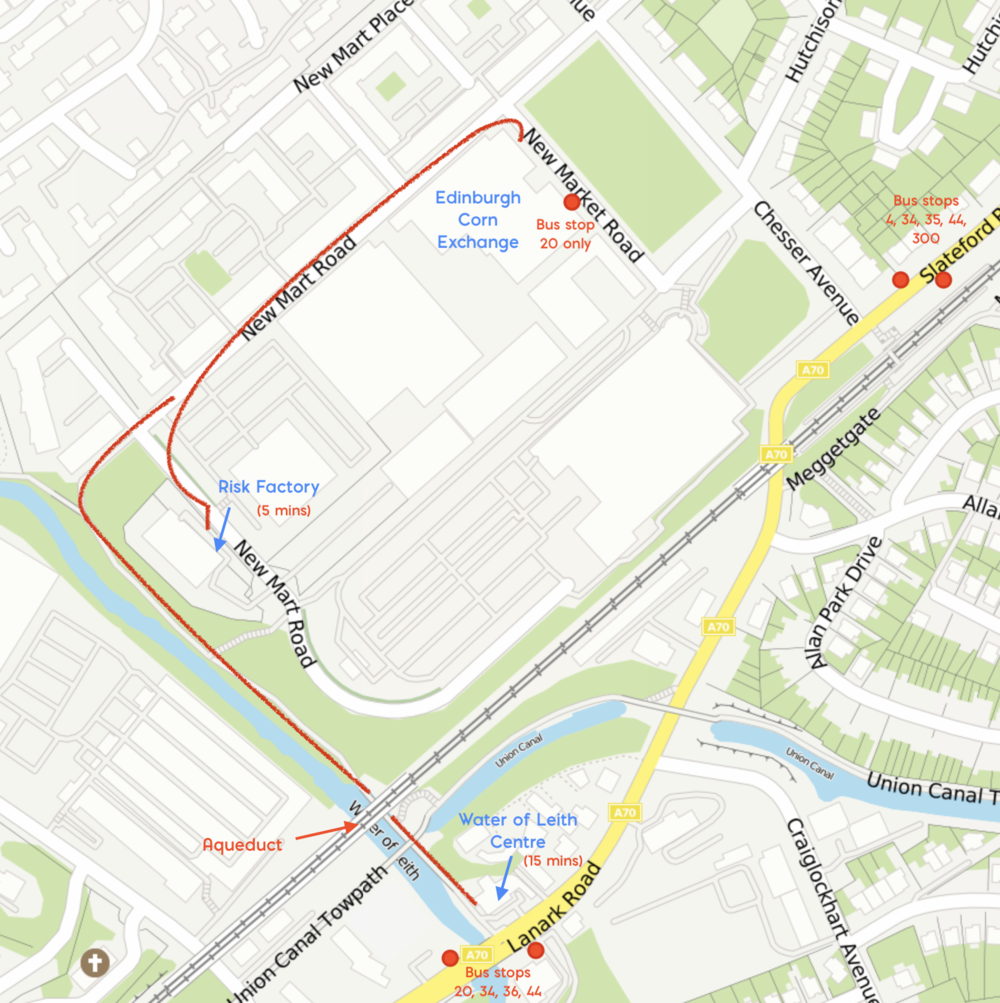 Map showing how to get to the Risk Factory and the Water of Leith Centre from the Corn Exchange. Note that you can also take a bus to the Water of Leith Centre if coming from another location.