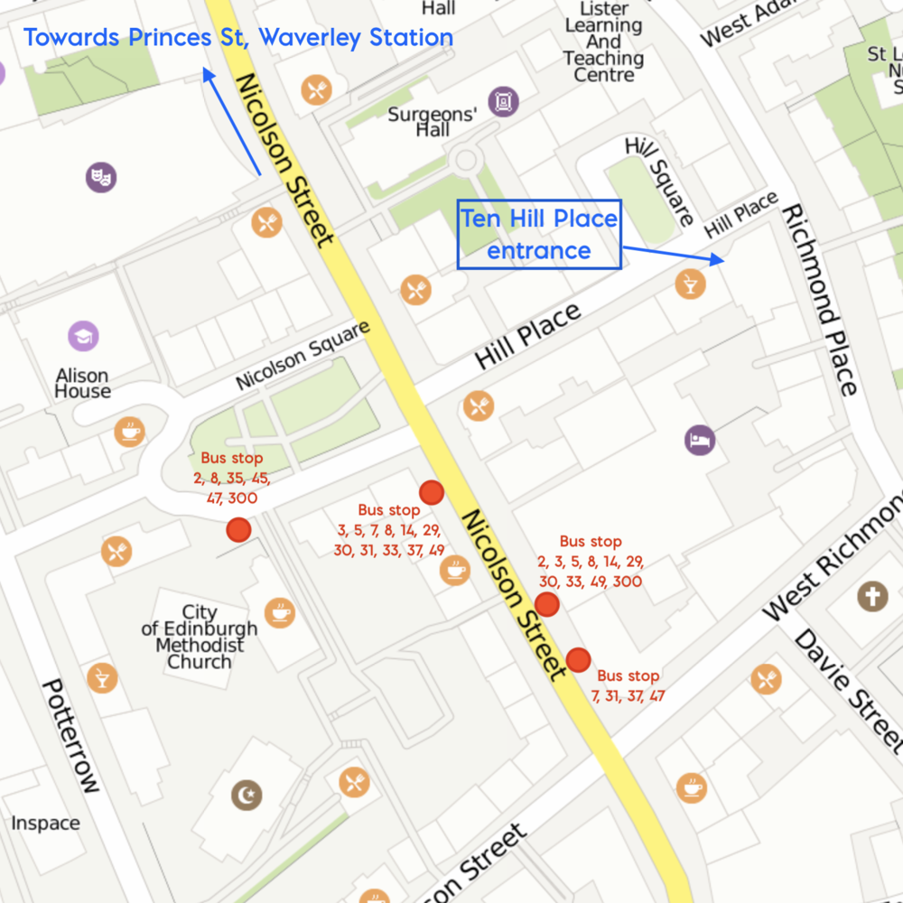 Map showing how to find Ten Hill Place, our venue for all-day classes. It is NOT near the Corn Exchange: it is  3.3 miles/5.3km  away. The postcode is EH8 9DS.