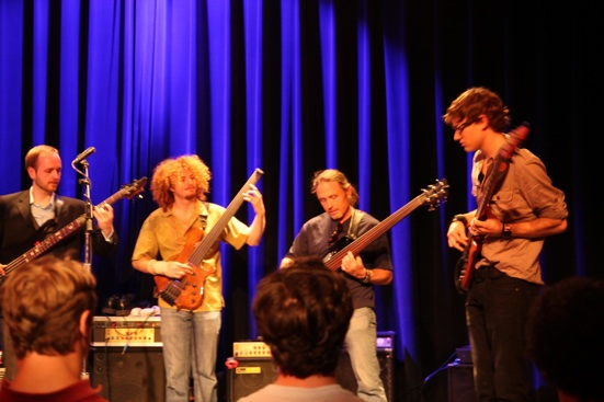 On Stage at Berklee College of Music with Steve Bailey, Grant Stinnett, and Mike Dyer