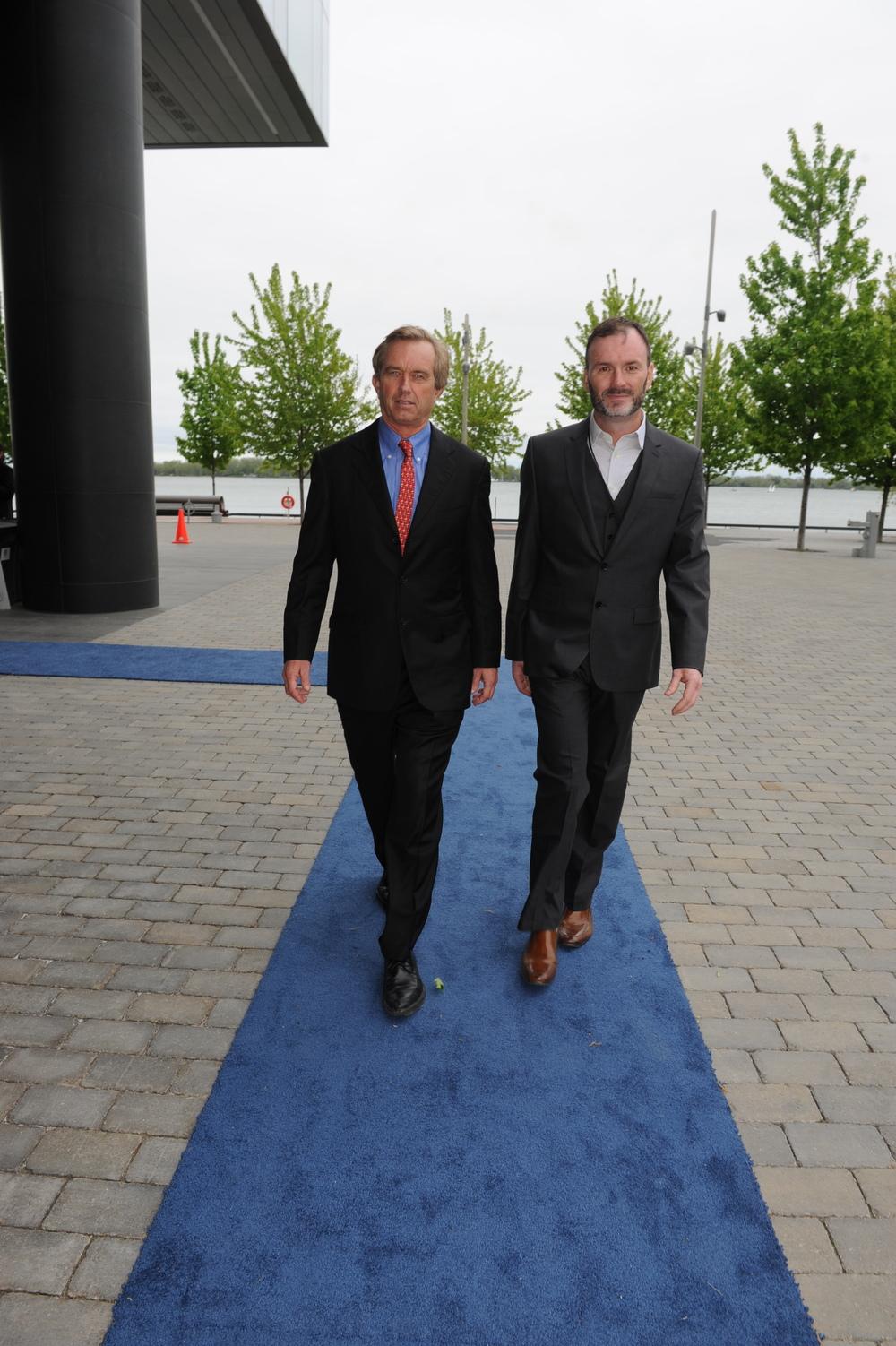Robert F. Kennedy, Jr. (left) and Waterkeeper Mark Mattson enter the 2013 Waterkeeper Gala at Corus Quay.