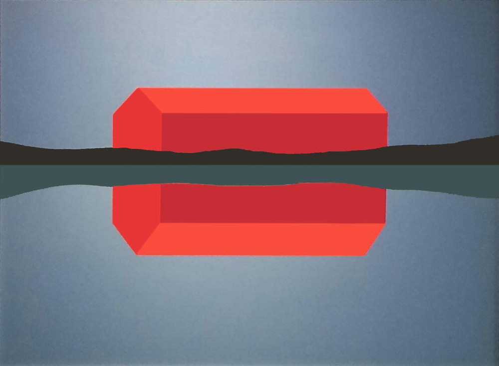 Charles Pachter, Red Barn, reflected, 1989, $18,000