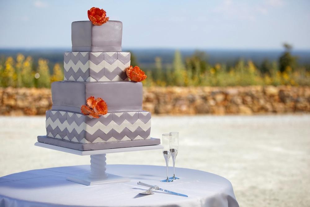Chevron Silver Cake  | Edible Art Bakery of Raleigh