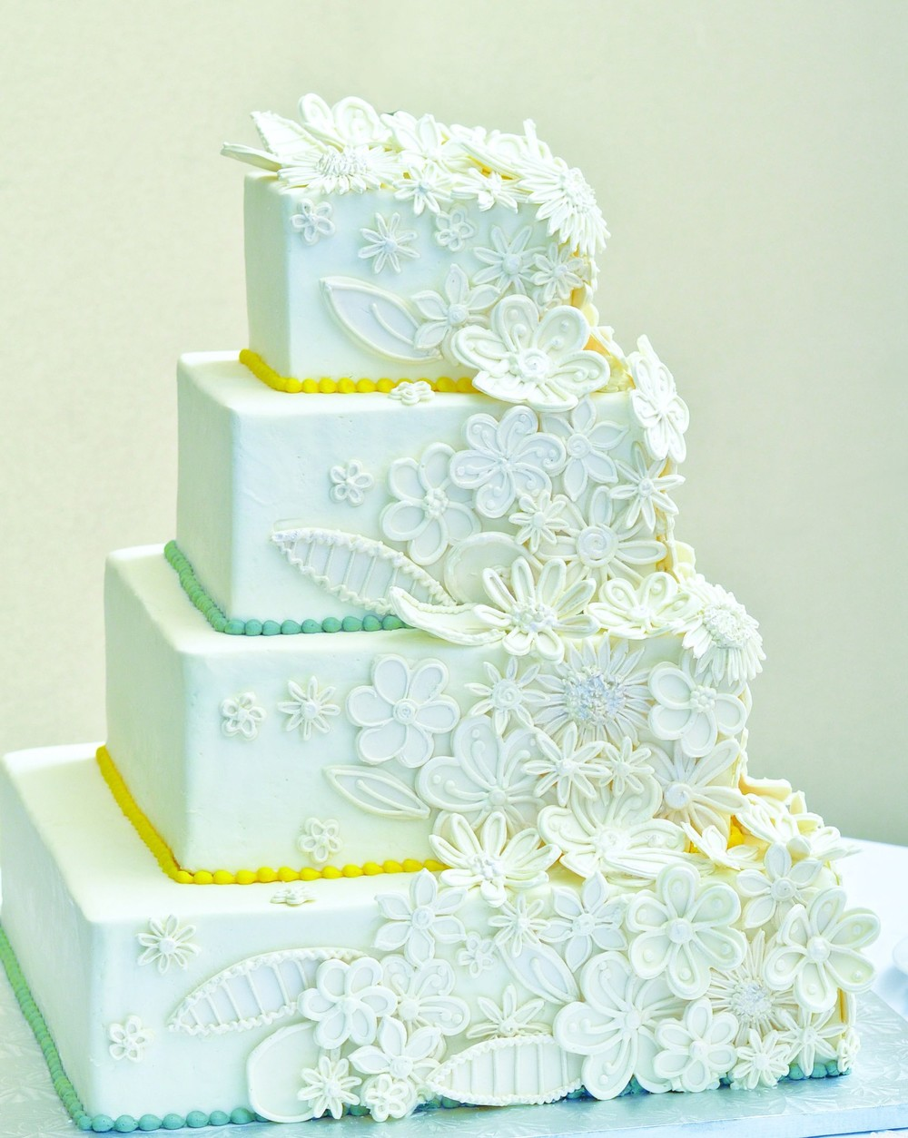 Linen and Lace Wedding Cake  | Edible Art Bakery of Raleigh