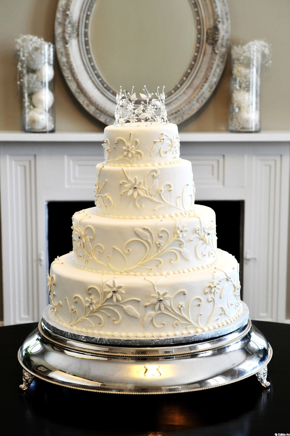 Silver and White Wedding | Edible Art Bakery of Raleigh