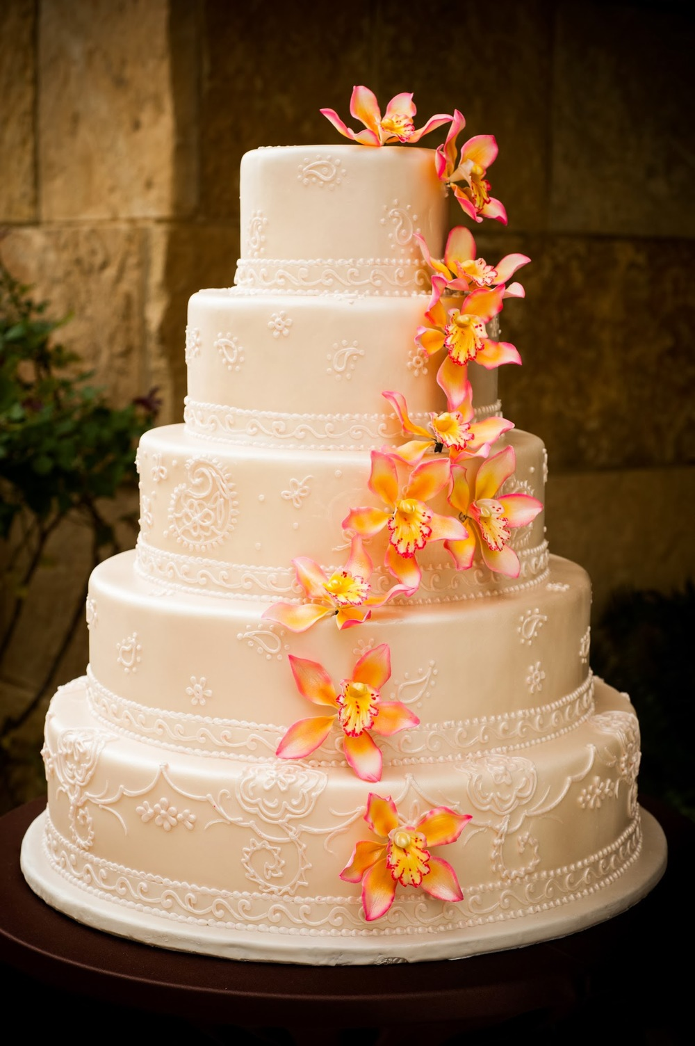 Sugar Flowers Wedding Cake | Edible Art Bakery of Raleigh