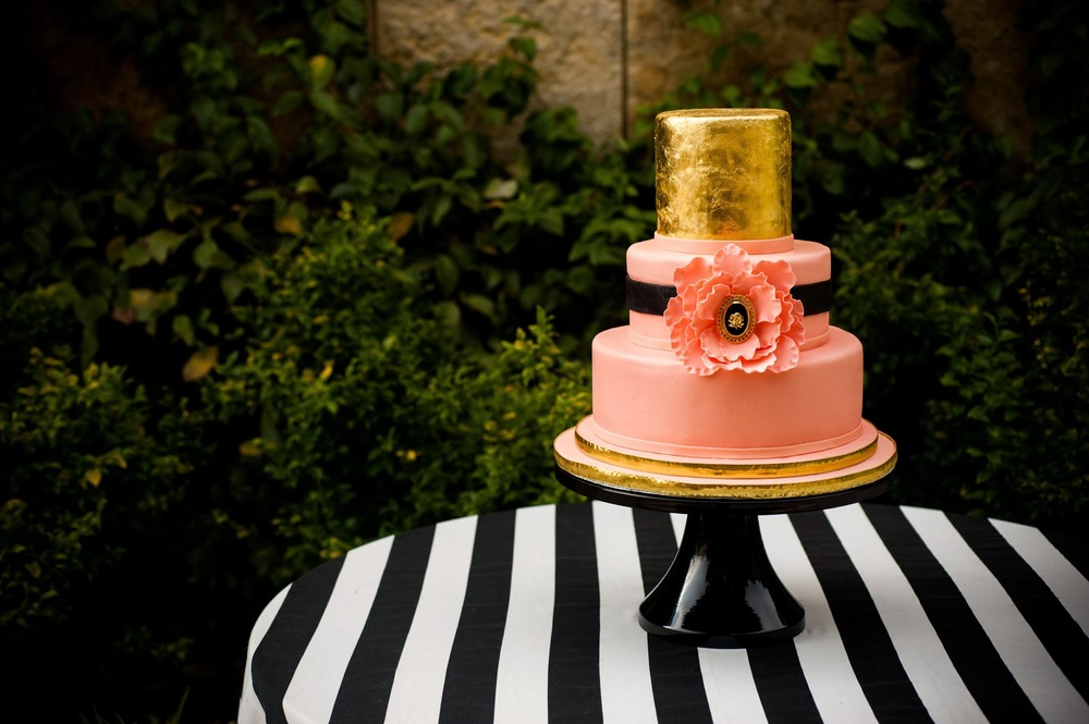 Gold and Pink Cake | Edible Art Bakery of Raleigh