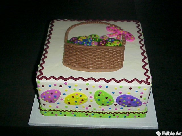 Easter cake photos edible art bakery desert cafe easter basket with confettig negle Gallery