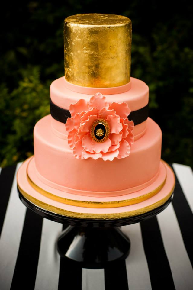 Gold and pink wedding cake by Edible Art