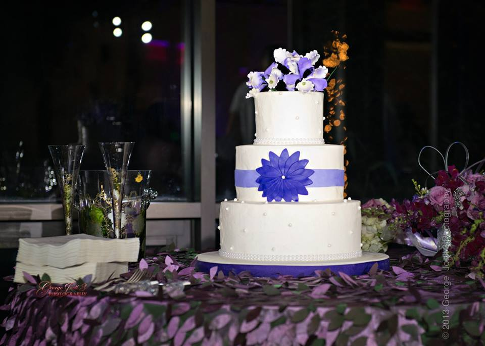 White and Blue Wedding Cake | Edible Art Bakery of Raleigh