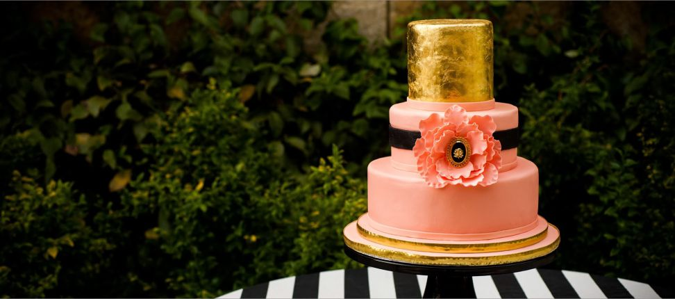 Pink and gold wedding shower cake