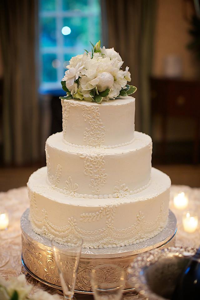 Traditional White Wedding Cake | Edible Art Bakery of Raleigh