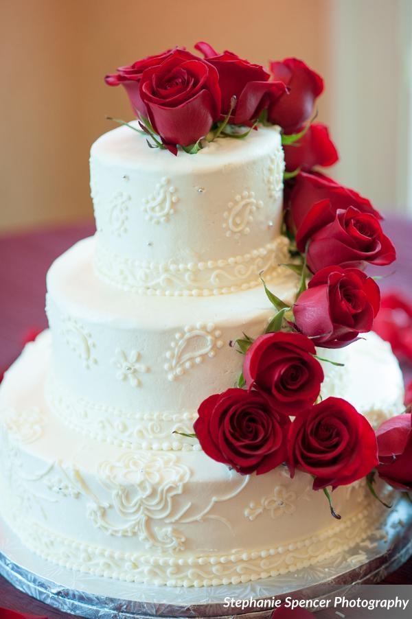 Red Roses Wedding Cake | Edible Art Bakery of Raleigh