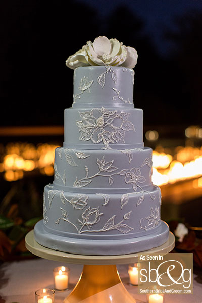 Wedgewood Blue Wedding Cake | Edible Art Bakery of Raleigh