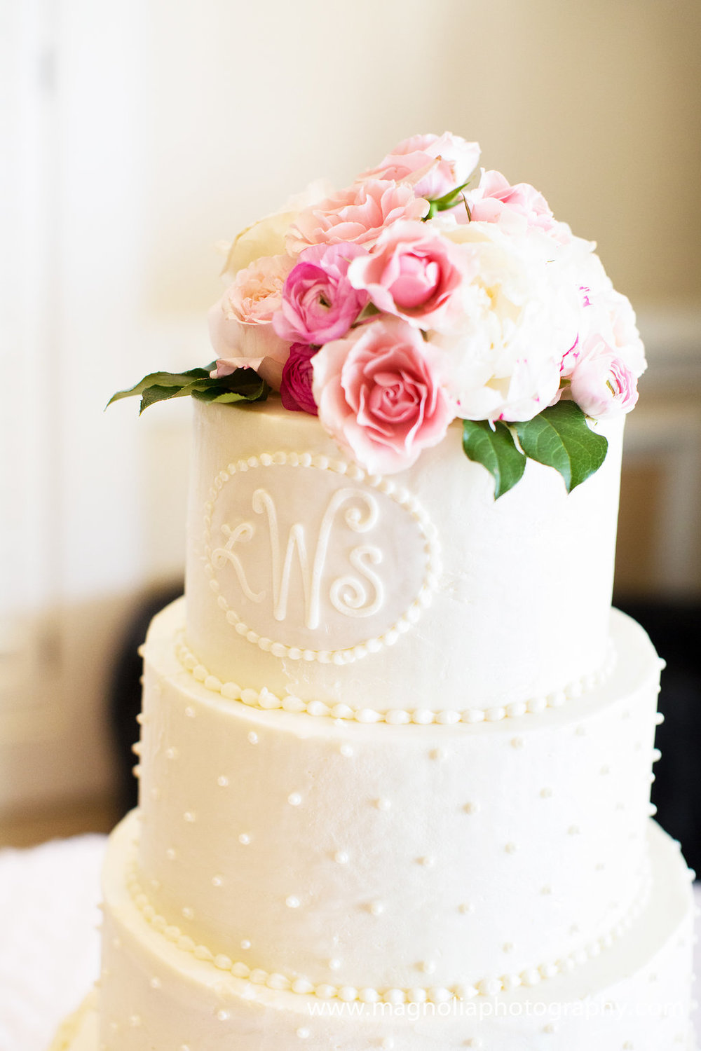 White Buttercream Wedding Cake | Edible Art Bakery of Raleigh