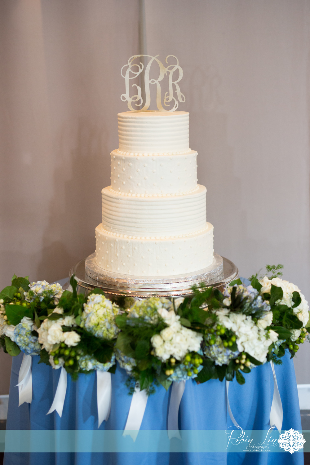 Monogram topped wedding cake | Edible Art Bakery of Raleigh