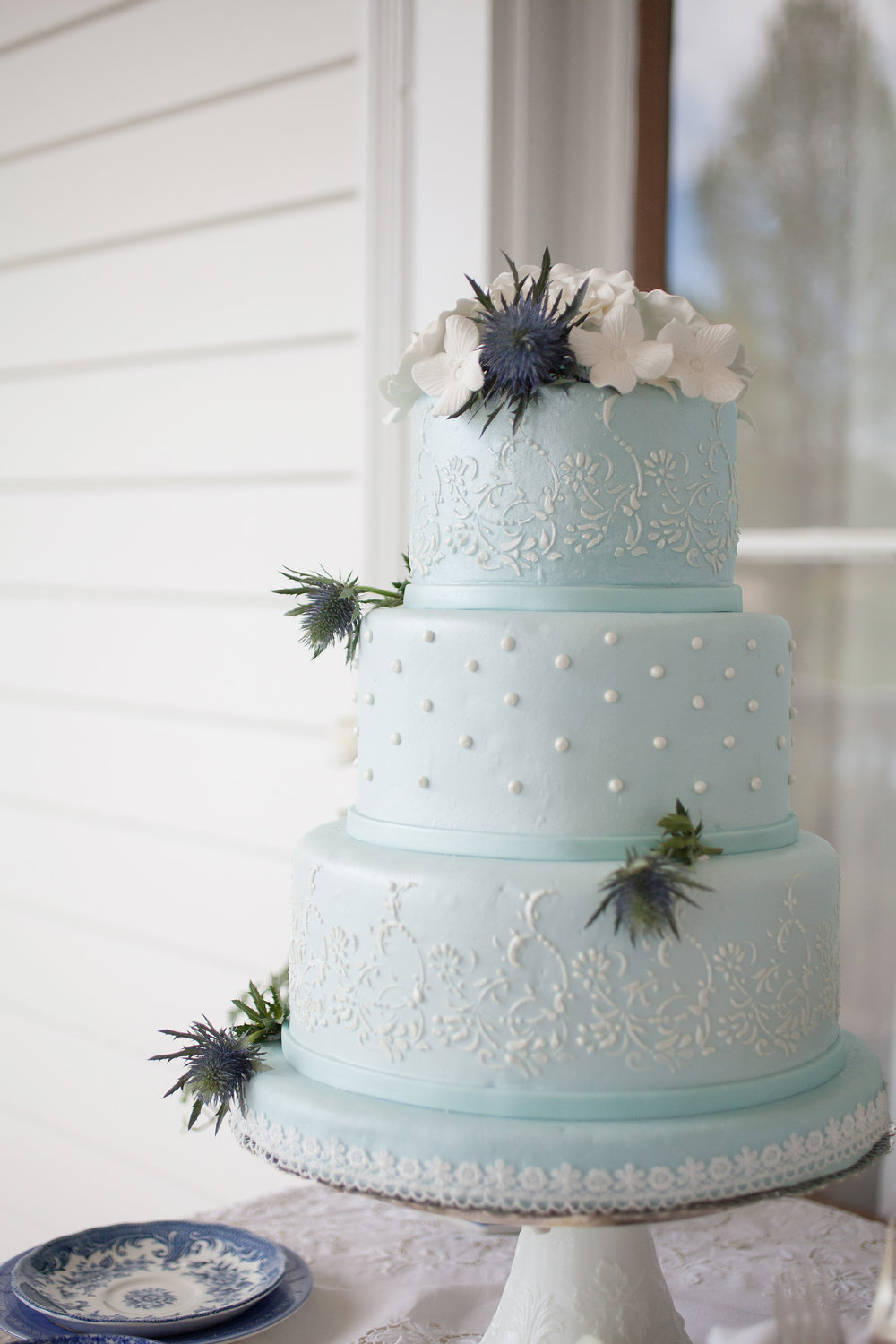 Light Blue Wedding Cake | Edible Art Bakery of Raleigh