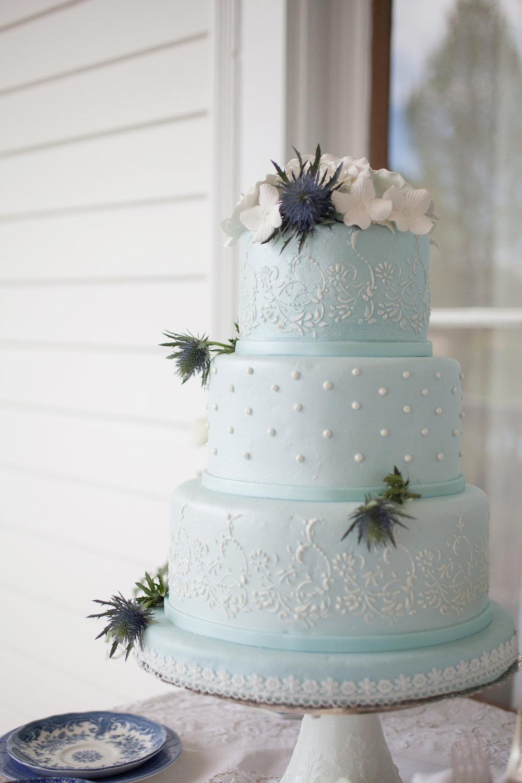 Light Blue Wedding Cake | Edible Art Bakery of Raleigh