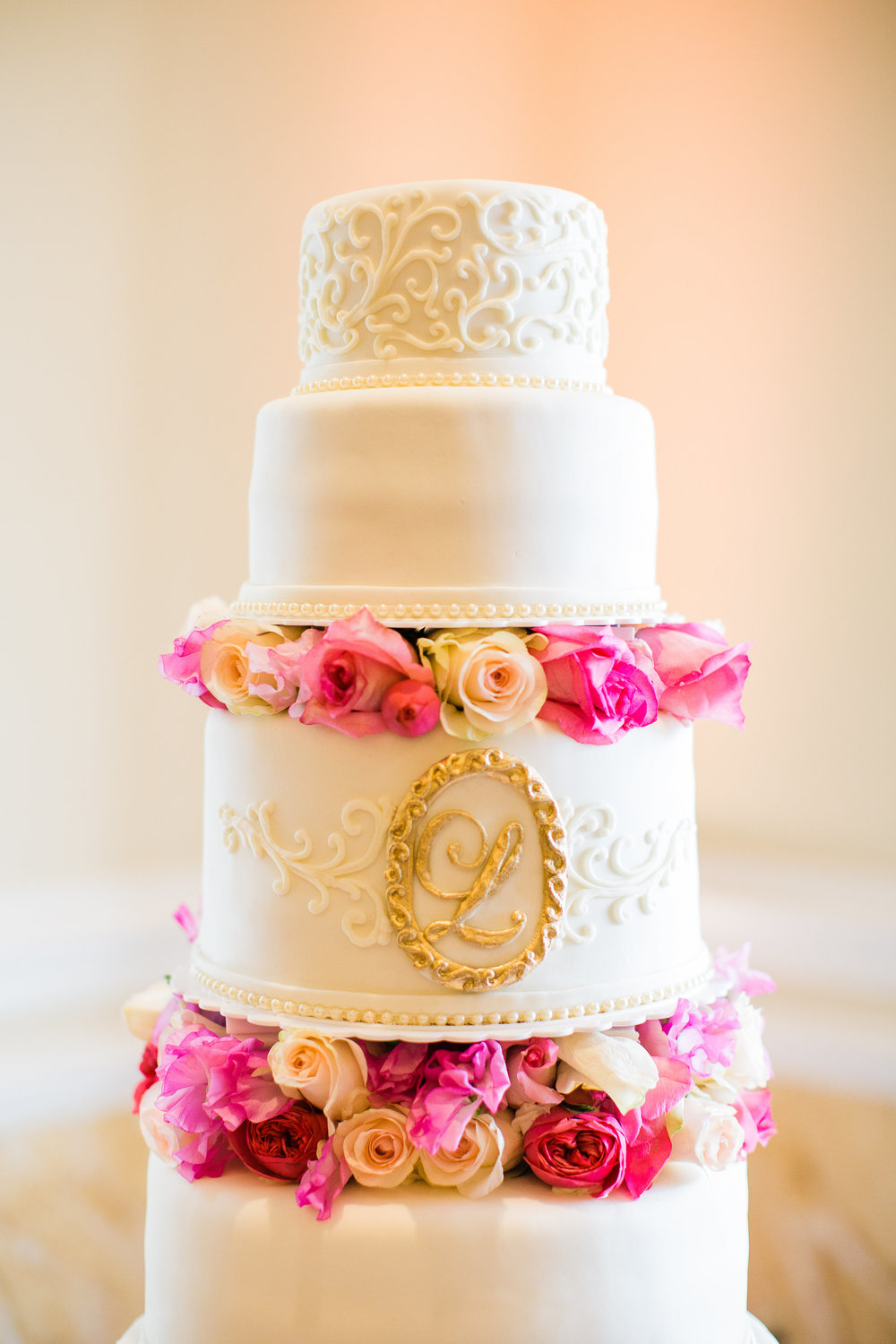 Wedding Cake with Rose Tiers | Edible Art Bakery of Raleigh