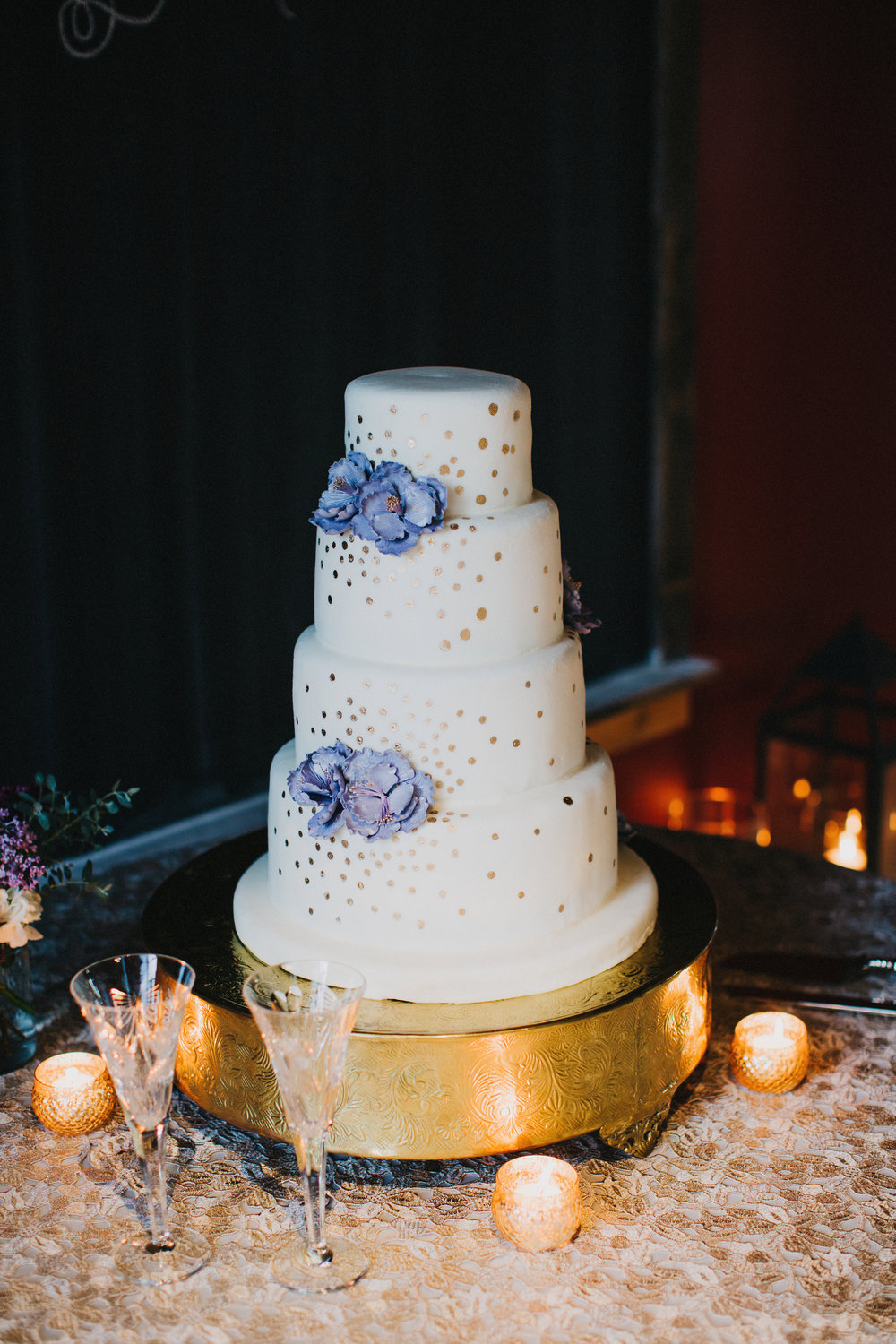 Wedding cake - white and blue | Edible Art Bakery of Raleigh