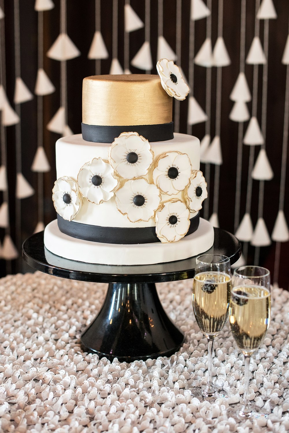 Black Gold and White Cake | Edible Art Bakery of Raleigh