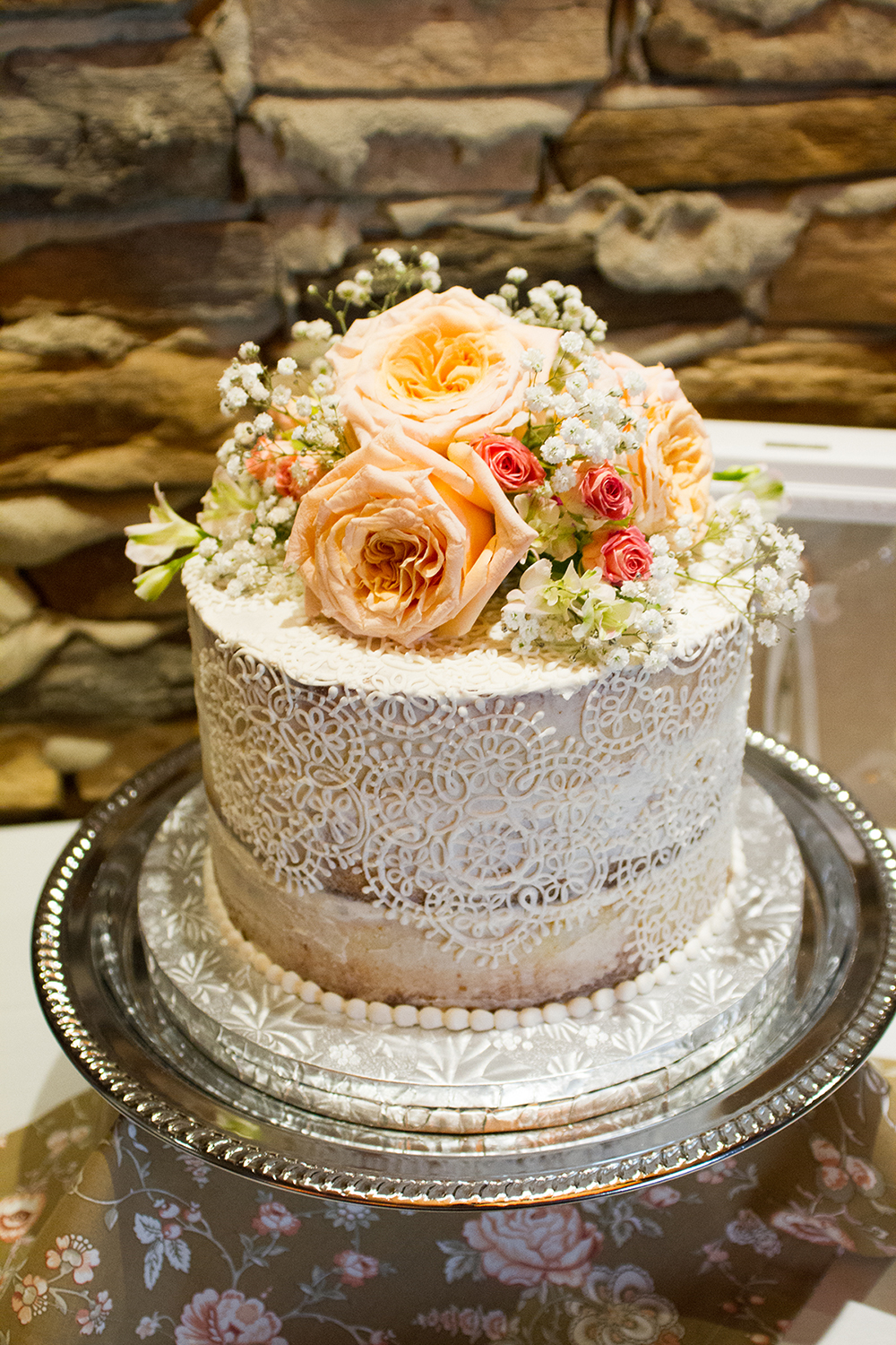 Cake with Lace and Flowers | Edible Art Bakery of Raleigh
