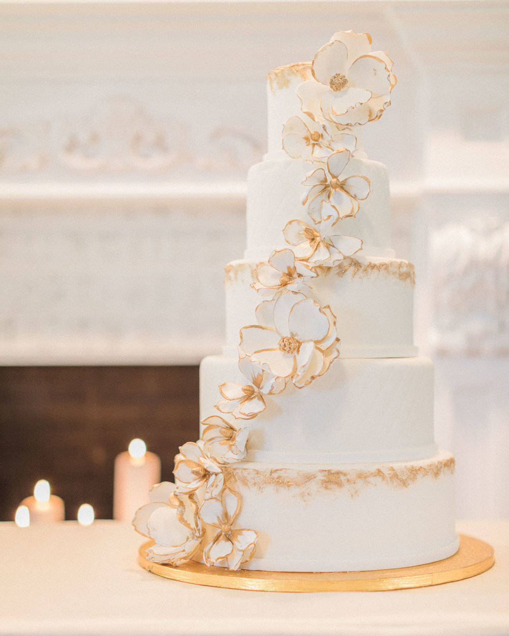 White and Gold Wedding Cake | Edible Art Bakery Raleigh