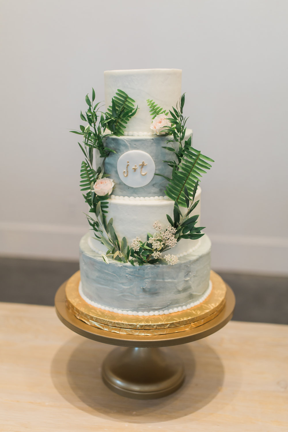 Watercolor Buttercream Wedding Cake