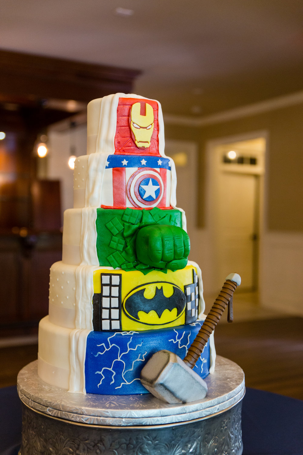 Superhero Themed Wedding Cake  | Edible Art Bakery of Raleigh